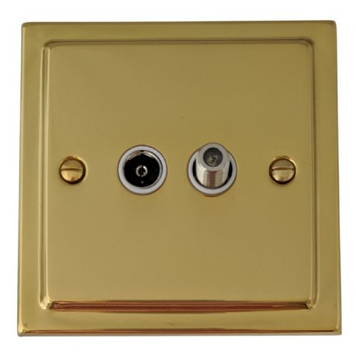 G&H TB38W Trimline Plate Polished Brass 1 Gang TV Coax & Satellite Socket Point